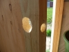 Completed holes in the door