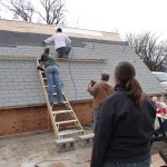 What is this, some government operation? Brad and Nikole shingling while the rest of us watch. My mom, Lorri in brown. Michelle in black. My Grandpa, Denny.